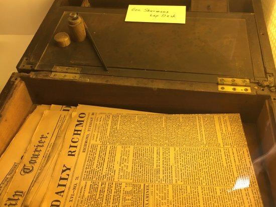Lancaster, OH: Sherman's field writing desk.
