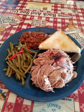 Eureka, MO: Pulled pork, green beans, and baked beans.