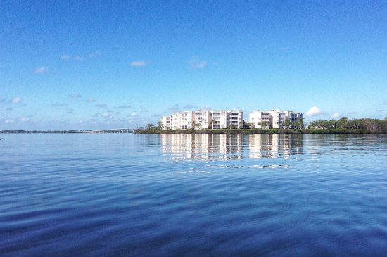 Jupiter, FL: View of Bayview Condos and bridge from the river