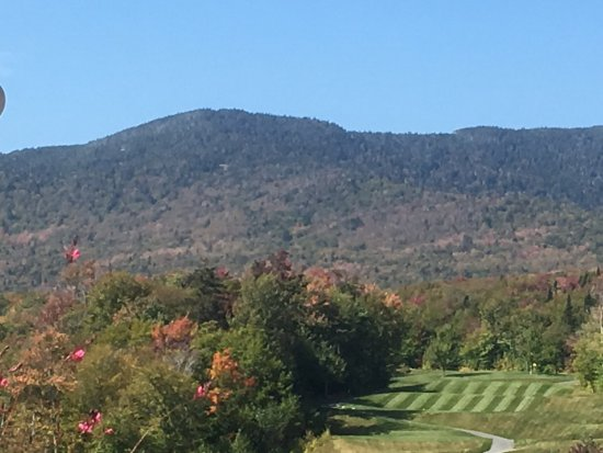 Jay, VT: The eighteenth fairway from the clubhouse patio