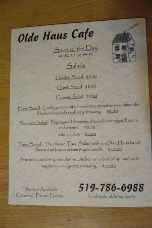 Forest, Canada: Menu Front