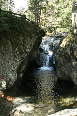 Hancock, VT: Upper falls showing protection attempts