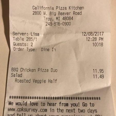 Troy, MI: California Pizza Kitchen