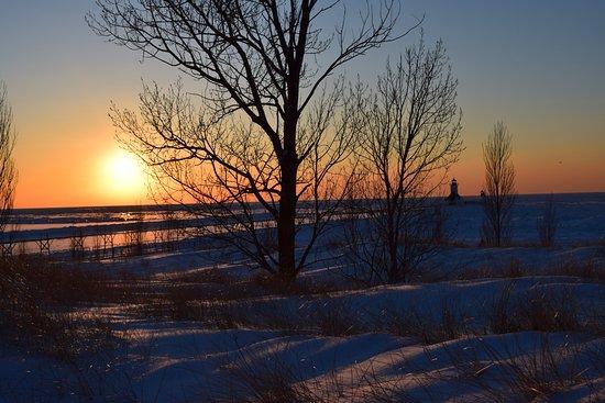 Saint Joseph, MI: Taken at sunset in February from the sand dune at Tiscornia.