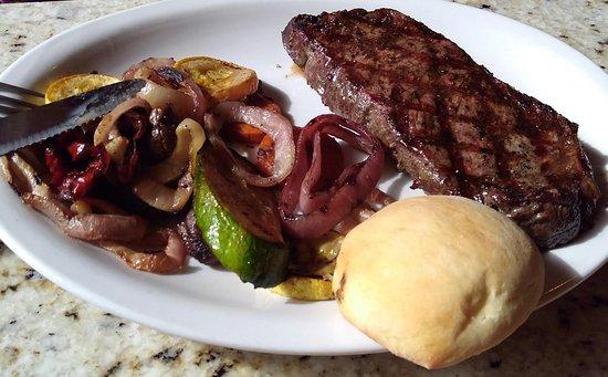 West Jefferson, NC: NY Strip with grilled fresh veggies.