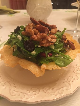 Lajollacooks4u: Mixed greens salad with blue cheese, dried blueberries, walnuts served in parmesan crisp bowl