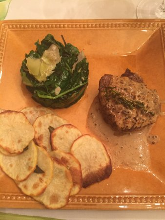 Lajollacooks4u: Grass fed tenderloin with peppercorn sauce, sauteed swiss chard and artichokes and roasted potat