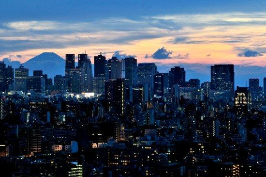 Narita, Japón: Tokyo at night with Mt. Fuji