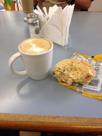 Southport, Australia: Coffee and Egg Cheese and Bacon pie