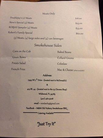 Wildwood, FL: Back page of menu