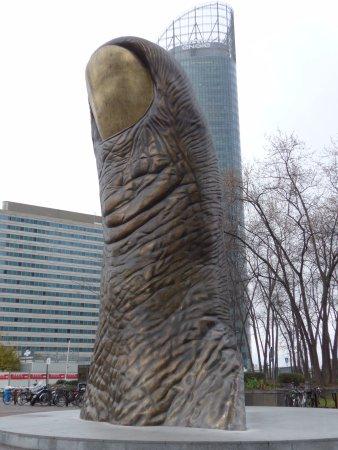 La Defense, France: Paris, La Défense, Bronzr sculpture 'Le Pouce' by César