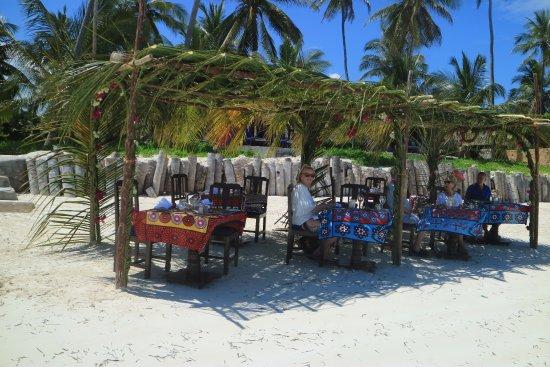 The Palms: Hotellet ordnade god lunch på stranden