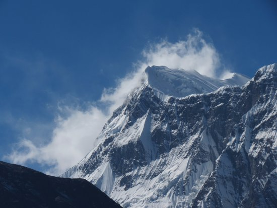 Annapurna Region, Nepal: Looking up at one of the Annapurna mountains