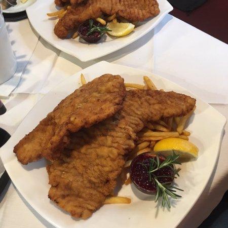 Bad Ischl, Österreich: Food was delicious - cream garlic soup, beef soup with noodles and wiener schnitzel