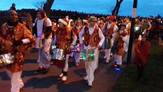 Clevedon, UK: MARLENS Samba band Lantern parade from the Pier to the Marine lake.