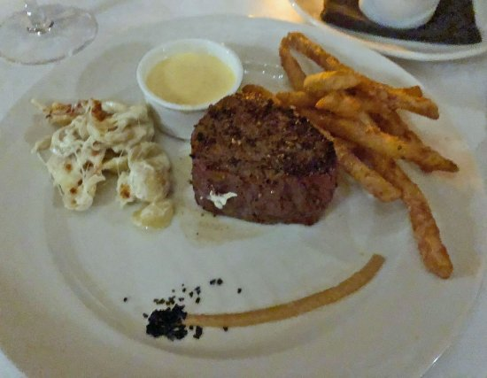 Old Hickory Steakhouse: Center Cut Filet with Truffle Fries and Mac and Cheese.