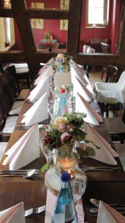 Tischdeko Von Unserem Hochzeitsessen Lediglich Die Blumen Und