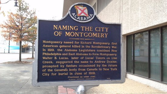 Montgomery, sign in Court Square about the naming of the city
