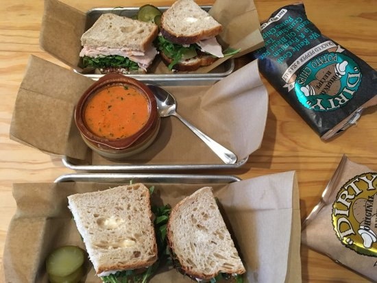 Green Dirt Farm Restaurant: Club sandwiches with tomatoe bisque.
