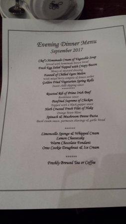 Tramore, Ierland: Dinner menu