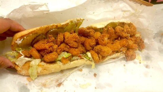 Temple, TX: Shrimp Po-Boy with bread from Gambino's goes well with a Budweiser!