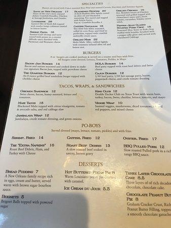 Huck Finn S Cafe New Orleans Menu