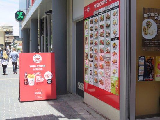 Glenelg, Australia: Outside the Yum Sing restaurant, attractively displayed menu