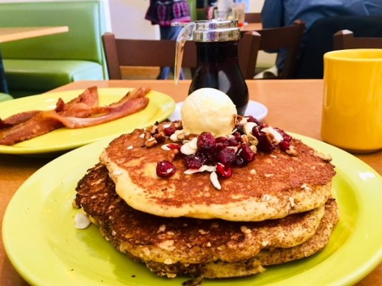 Farmington Hills, MI: Oatmeal cinnamon pancakes with thick cut bacon