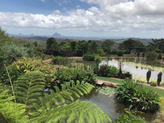 Maleny, Australia: view over 2 lakes to Glass House Mountains