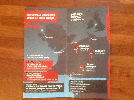 Blaenau Ffestiniog, UK: Brochure of different zip world sites.