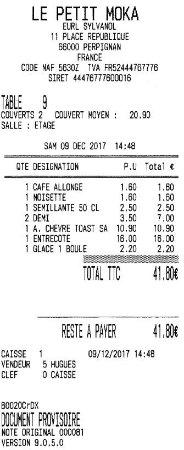 Le Petit Moka: Aquí el ticket del segundo día.