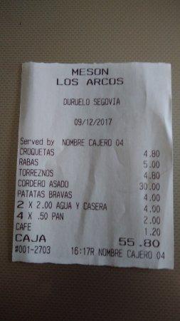 Duruelo, Espagne : cuenta de los cuatro comensales. No llegamos a los postres