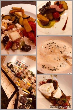 ERMITAGE Wellness- & Spa-Hotel: Collage mit Frühstücksbuffet und Speisen