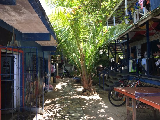 Utila, Honduras: Gear room to the left, accommodation to the right