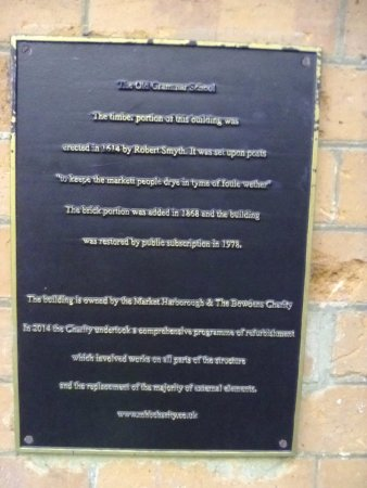 Information plate on the wall of The Old Grammar School, Market Harborough, Leicestershire, Engl