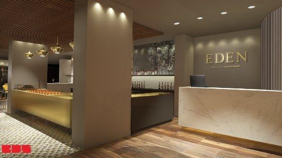 Ilanz, Schweiz: Empfang in neuen EDEN HOTEL UND RESTAURANT
