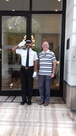 Maidens Hotel: The very smart security guard at the entrance of the hotel.