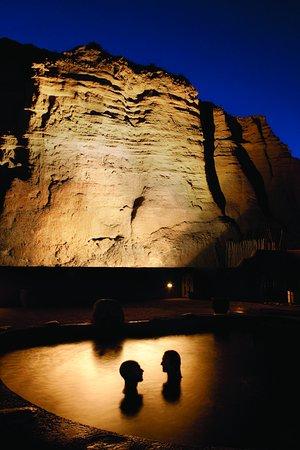 Ojo Caliente, NM: Night time cliff side at Ojo