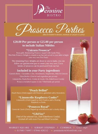 Kirkby Stephen, UK: Prosecco Parties at the Pennine!