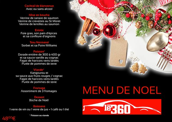 Decoration De Menu De Noel.Noel 2017 Notre Menu Du 24 12 Picture Of Restaurant