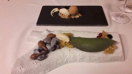 Xerta, España: El Ficus de la Puerta con hojas de chocolate, falsos higos con su crema y piedras de Crumble