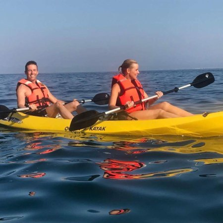 Kayaking & snorkeling off the protected beach
