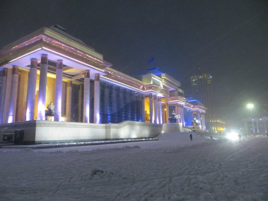 Genghis Khan Square: Genghis Kahn Square on a snowy night