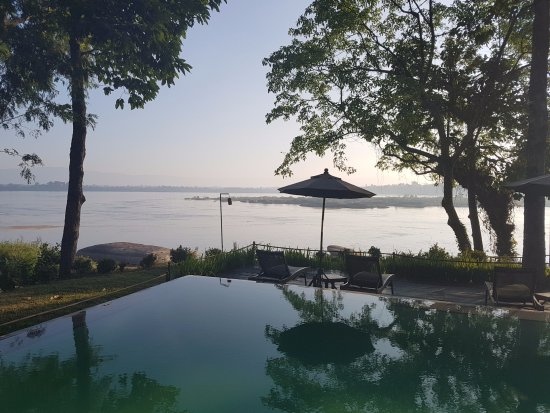 Champasak Town, Laos: view from the pool