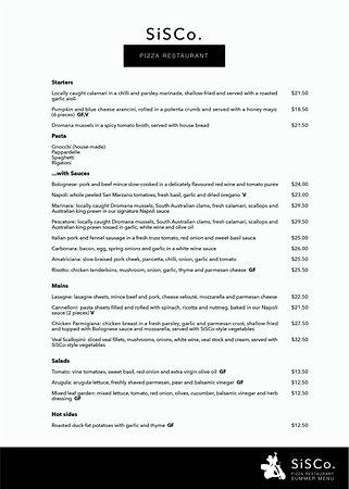 Rye, Australia: DINE IN MENU Page 1