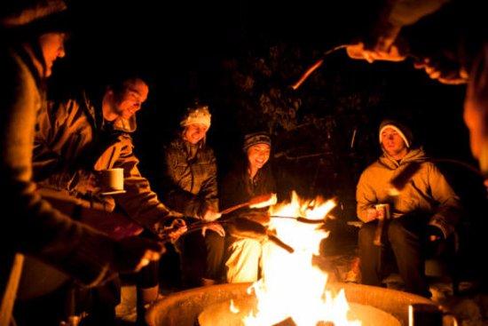 Bonfire Restro: people warming @ bonfire