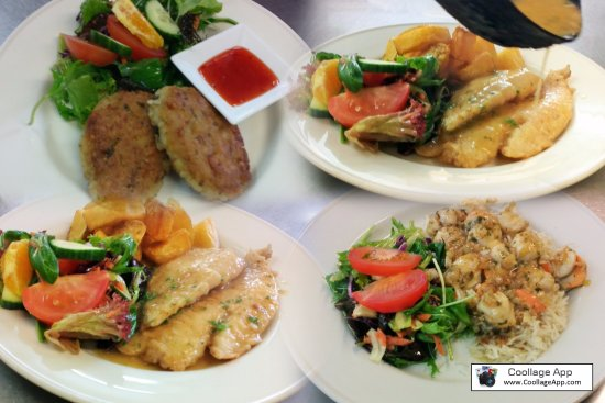 Waihi, New Zealand: our fish variety on the lunch menu fresh Tarakihi,prawn cutlets, thai fishcakes