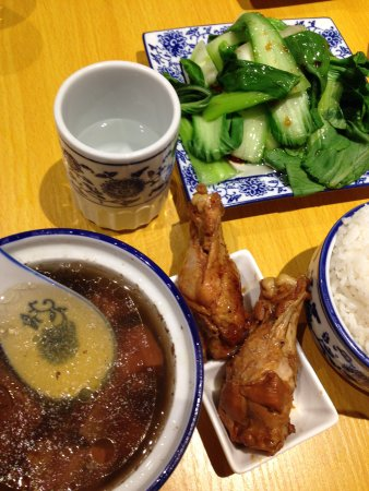 Hurstville, Australia: Herbal cuisine with beef ribs stew + rice + veggie + chicken legs