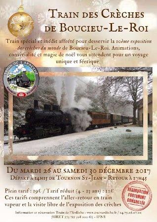 Tournon-sur-Rhone, Frankreich: Affiche du Train des crèches - Circulation spéciale et inédite du 26 au 30 décembre 2017