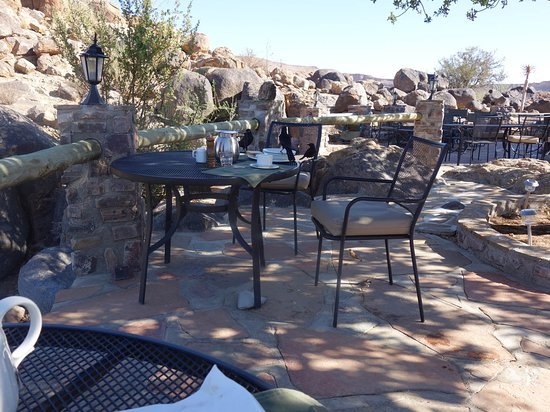 Fish River Canyon, Namibia: terrace for tea and breakfast